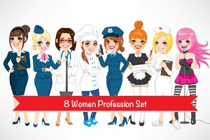 8 Women Profession Set