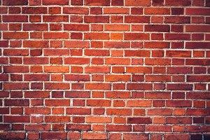 Retro red brick wall and brick floor