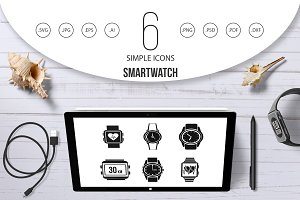 Smartwatch icon set, simple style