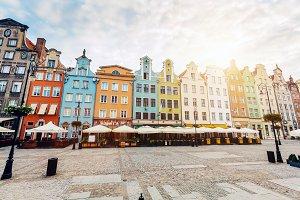 Old colorful tenement buildings loca