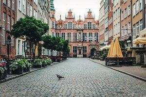 Vintage Old Town street in Gdansk.