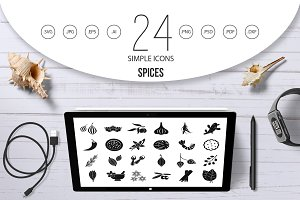 Spices icon set, simple style