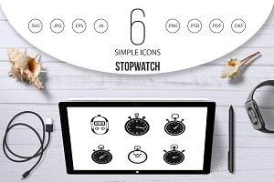 Stopwatch icon set, simple style