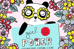 Girl Power! Floral kids illustration