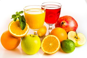 Ripe fruit and juice.