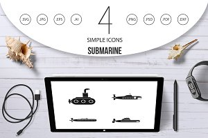 Submarine icon set, simple style