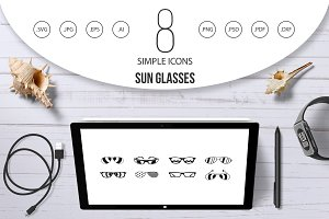 Sun glasses icon set, simple style