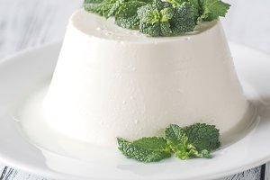 Ricotta decorated with mint