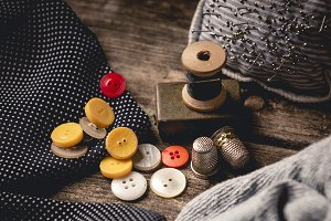 Close-up of wooden sewing spool and
