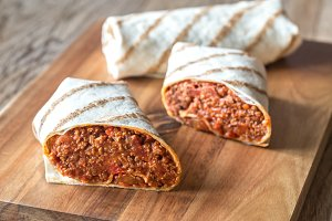 Burritos stuffed with beef
