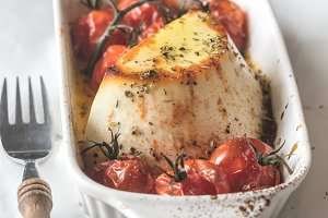 Baked ricotta with tomatoes