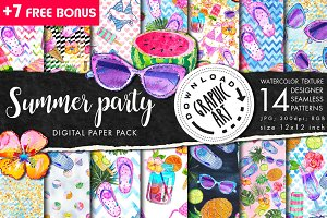 Summer Party Seamless pattern