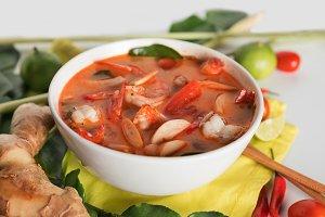 Thai Tom Yum Goong or spicy tom yum