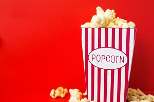 Pop corn on a red background