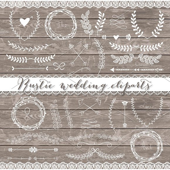 Vector Rustic wedding cliparts