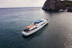 aerial cruise ferry ship come to the