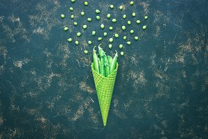 Green peas in a waffle cone