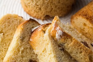 Homemade carrot muffin with empty