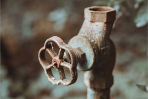 Old worn out water pipes. Broken
