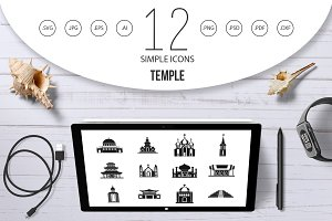 Temple icon set, simple style