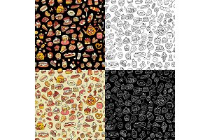 Cakes and sweets, seamless pattern