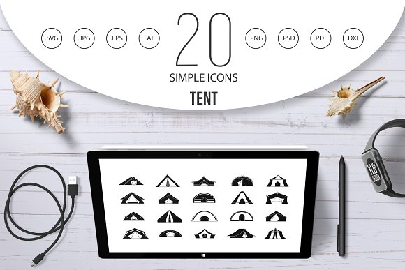 Tent icon set, simple style