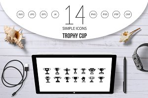 Trophy cup icon set, simple style