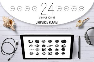 Universe planet icon set, simple
