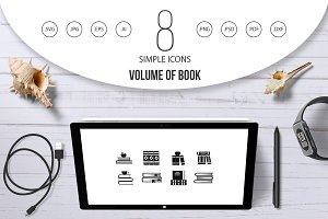 Volume of book icon set, simple