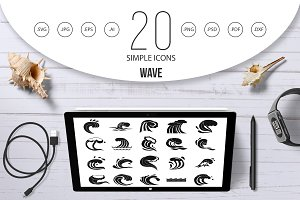 Wave icon set, simple style