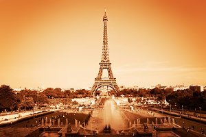 Eiffel Tower, Paris France. Vintage
