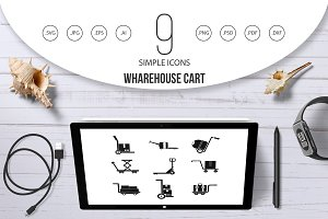 Wharehouse cart icon set, simple