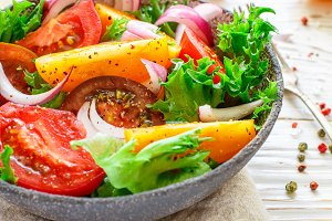 salad of colorful ripe tomatoes