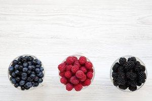 Bowls containing berries: blueberrie