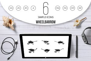 Wheelbarrow icon set, simple style