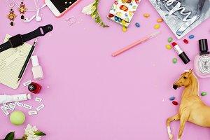 Fashion modern pink flat lay mockup