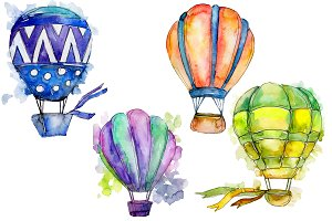 Colorful hot air balloon PNG set