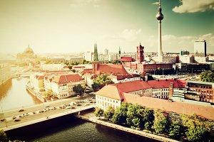 Berlin, Germany skyline. Vintage