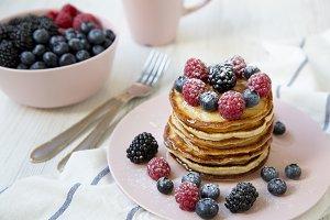 Pancakes with raspberry, blackberry