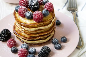 Pancakes with various berries