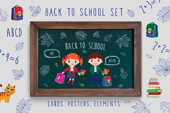 Back to school set in Illustrations