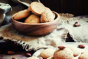Homemade almond cookies, vintage woo