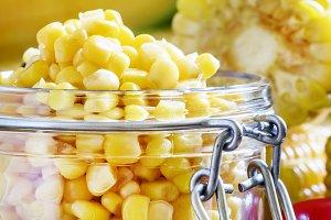 Preserved corn in a glass jar, selec