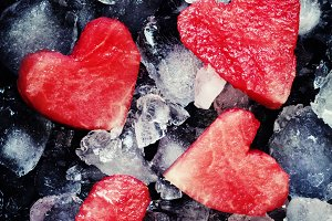 Red sweet watermelon hearts on crush