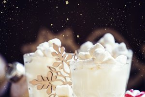 Hot white chocolate with marshmallow