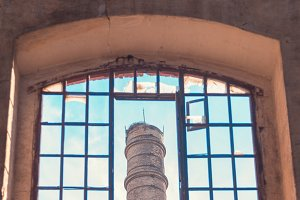 abandoned factory chimney
