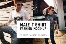Male T-Shirt Fashion Mock-Up