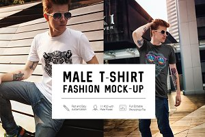 Male T-Shirt Fashion Mock-Up