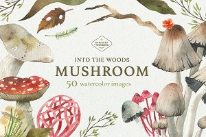 Mushroom Watercolor Clipart Set
