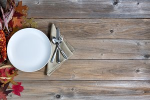 Autumn background with dinnerware
